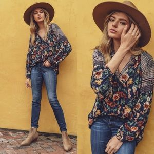 Navy Floral Bubble Sleeve Top